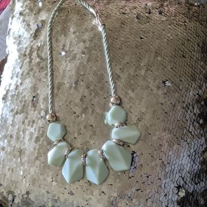 White and rose gold smooth stone necklace